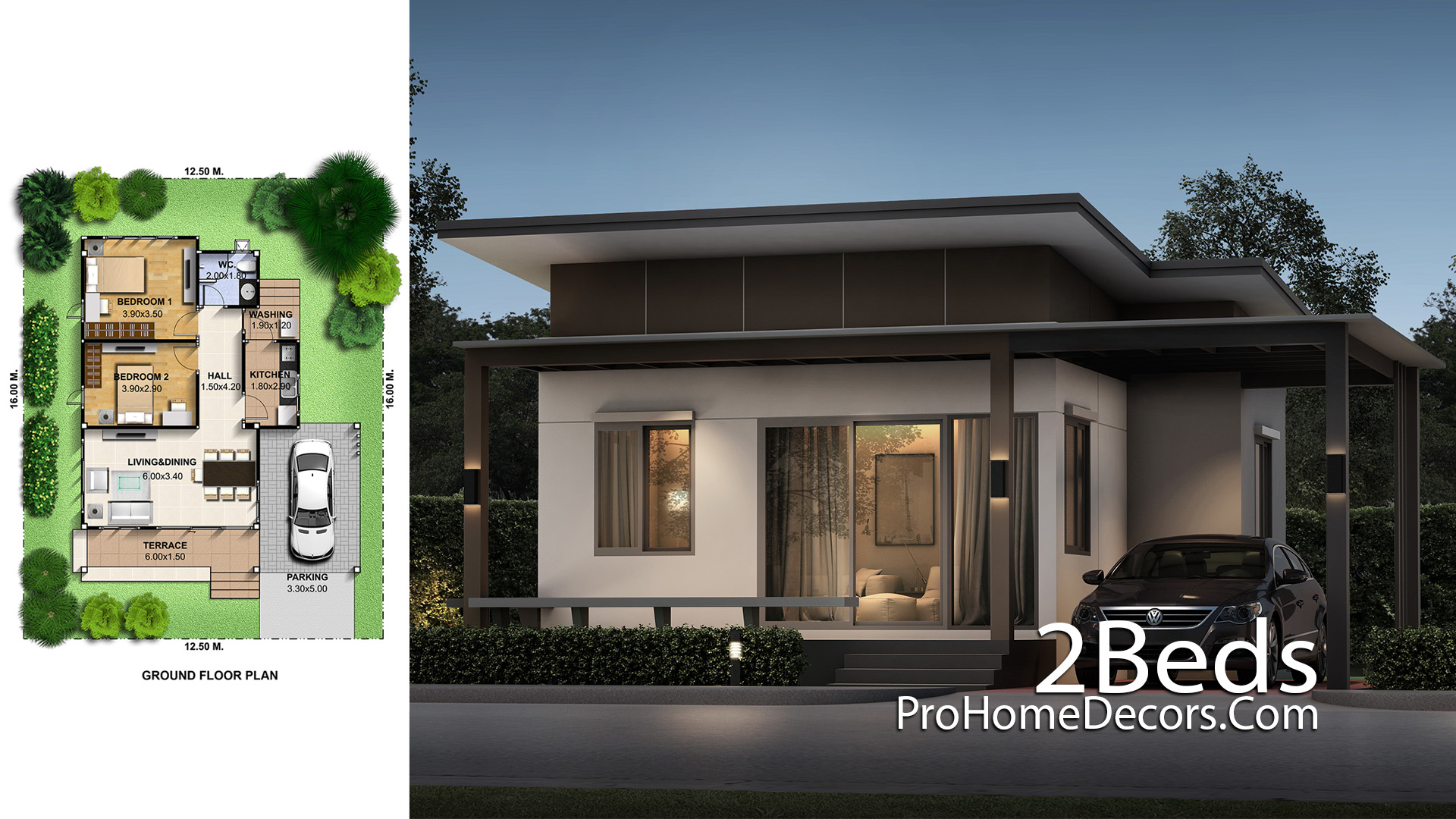 Small House Plot 12x15 Meter with 2 Bedrooms