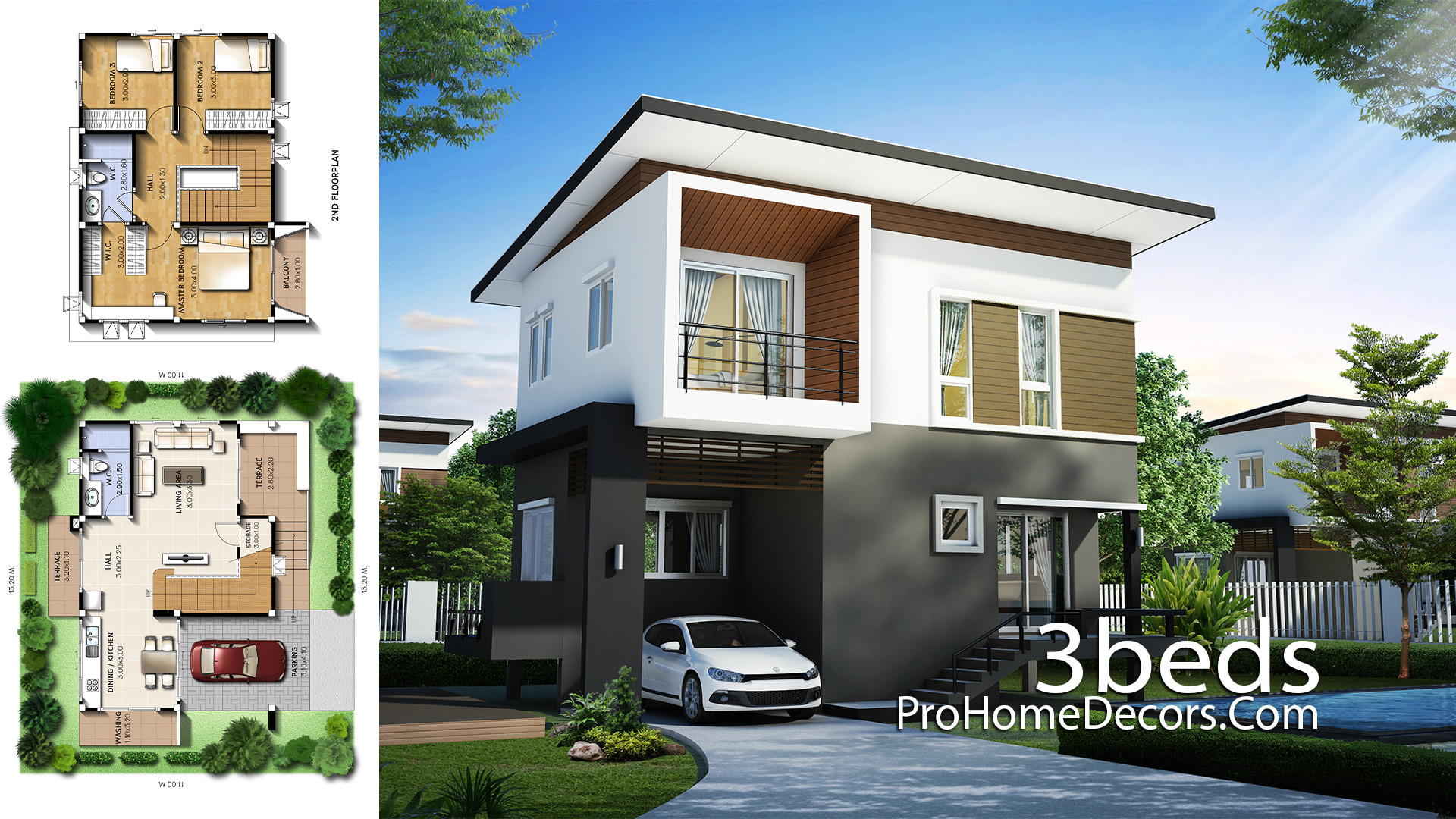 Small House Plot 13x11 Meter with 3 Bedrooms